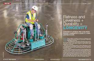 Two-page spread of article from Concrete Construction magazine, October 2011, discussing why flatness alone isn't the most important factor in a quality floor.