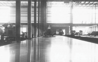 Black and white photo of superflat floor.