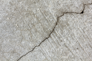 Close-up of floor crack.