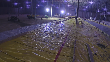 Warehouse floor construction photo of FSF Superflat floor in San Antonio, Texas.