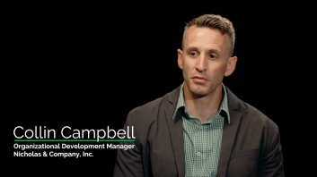 Testimonial screen shot of Collin Campbell, Organizational Development Manager at Nicholas & Company, Inc. speaking of Fricks exceptional quality floors.