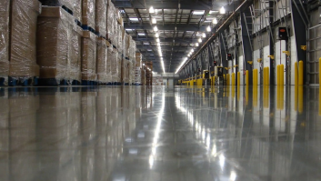Photo of highly reflective Fricks floor project warehouse.