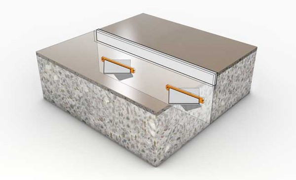 3D isometric of Fricks Diamond Dowel joint system.