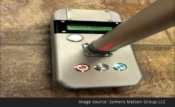 Photo of floor flatness tester Somero Matson Deflection meter.