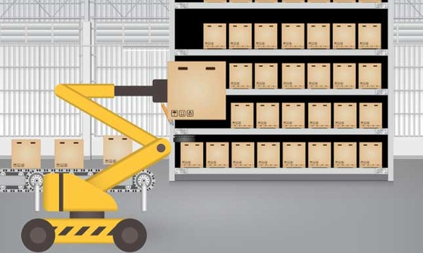 Animation of Automated Storage and Retrieval System (ASRS) pulling items from shelves.