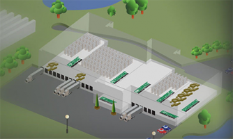 Photo of warehouse facility isometric showing varying types of floors.