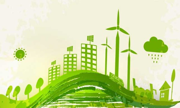 Illustration of green cityscape, buildings and environment imagery.